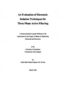 An Evaluation of Harmonic Isolation Techniques for Three ... - Core