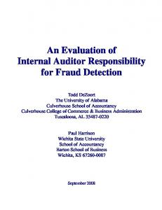 An Evaluation of Internal Auditor Responsibility for Fraud Detection