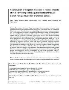 An Evaluation of Mitigation Measures to Reduce Impacts of Peat ...