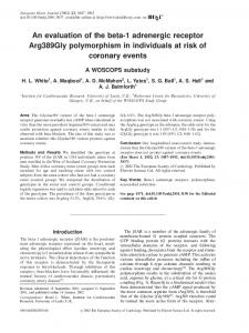 An evaluation of the beta-1 adrenergic receptor Arg389Gly ...