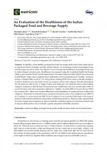 An Evaluation of the Healthiness of the Indian Packaged Food ... - MDPI