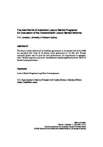 An Evaluation of the Howard-Reith Labour Market Reforms