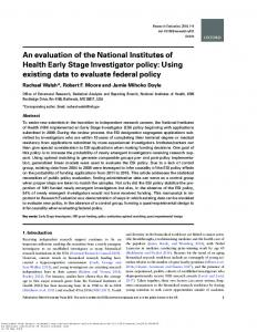 An evaluation of the National Institutes of Health Early ...