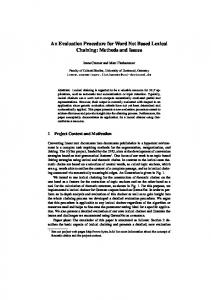 An Evaluation Procedure for Word Net Based Lexical Chaining ...