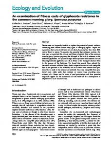 An examination of fitness costs of glyphosate ... - Wiley Online Library