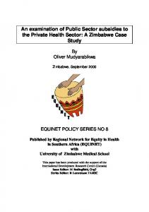 An examination of Public Sector subsidies to the Private ... - safaids