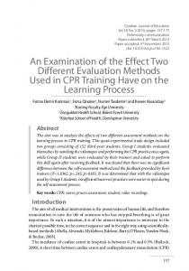 An Examination of the Effect Two Different Evaluation Methods Used ...