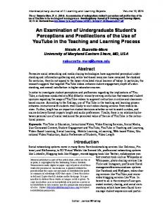 An Examination of Undergraduate Student's Perceptions and ...