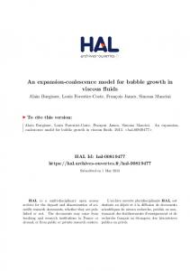 An expansion-coalescence model for bubble growth in viscous ... - Hal