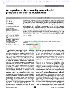 An experience of community mental health program in rural ... - medIND