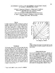 An Experiment to Evaluate the Possiblility of Electron Cooling of ...