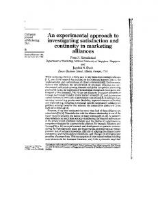 An Experimental Approach to Investigating ... - Jagdish Sheth