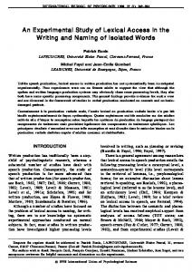 An Experimental Study of Lexical Access in the ... - Semantic Scholar