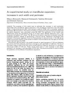 An experimental study on mandibular expansion: increases in arch ...