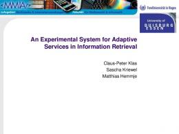 An Experimental System for Adaptive Services in ... - Semantic Scholar