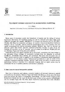 An expert systems approach to econometric modelling