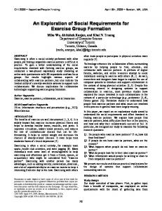 An Exploration of Social Requirements for Exercise Group Formation