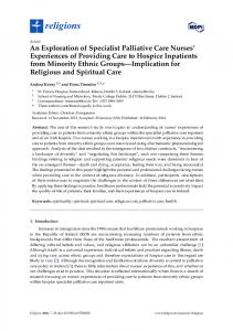 An Exploration of Specialist Palliative Care Nurses ... - Semantic Scholar