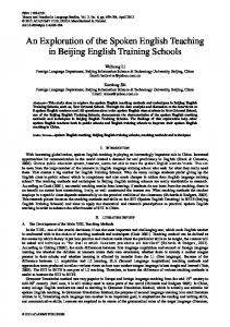 An Exploration of the Spoken English Teaching in Beijing English ...