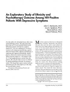 An Exploratory Study of Ethnicity and Psychotherapy Outcome Among ...