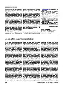 An exposition on environmental ethics - Current Science