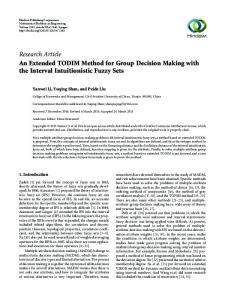 An Extended TODIM Method for Group Decision Making with the ...