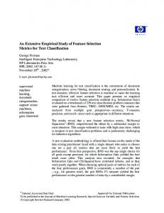 An Extensive Empirical Study of Feature Selectiion Metrics for Text ...