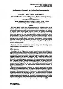 An Extractive Approach for Uyghur Text Summarization - sersc