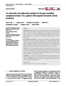 An extremely rare splice site mutation in the gene ...