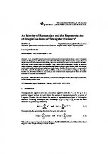 An Identity of Ramanujan and the Representation of Integers as Sums