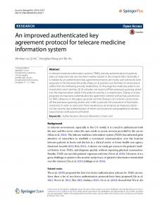 An improved authenticated key agreement protocol for ... - Springer Link