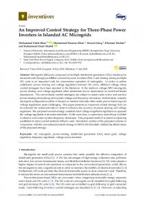 An Improved Control Strategy for Three-Phase Power Inverters ... - MDPI