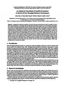 An Industrial Case Study of Usability Evaluation in Market ... - CiteSeerX