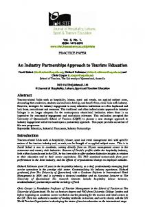 An Industry Partnerships Approach to Tourism Education - CiteSeerX