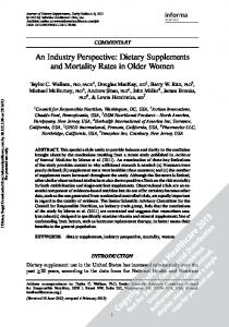 An Industry Perspective: Dietary Supplements and ...