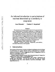 An informal introduction to perturbations of matrices determined up to