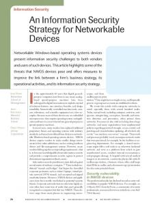 An Information Security Strategy for Networkable Devices