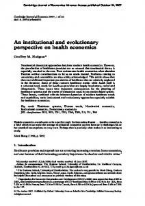 An institutional and evolutionary perspective on ... - Semantic Scholar