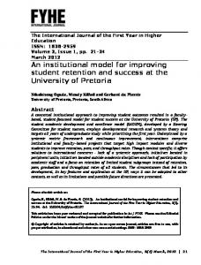 An institutional model for improving student retention and success at ...