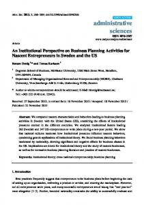An Institutional Perspective on Business Planning Activities for ... - MDPI