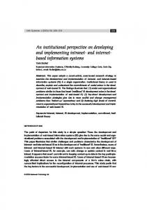 An institutional perspective on developing and ... - Semantic Scholar