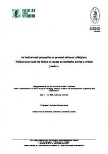An institutional perspective on personal advisors in Belgium. Political ...
