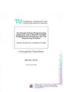 An Integer Linear Programming Approach and a Hybrid Variable ...