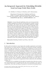 An Integrated Approach for Scheduling Divisible Load ... - Springer Link