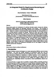 An Integrated Model for Requirements Structuring and ... - CiteSeerX