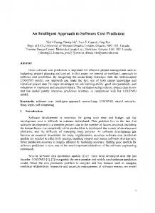 An Intelligent Approach to Software Cost Prediction - CiteSeerX