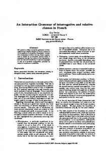 An Interaction Grammar of Interrogative and Relative Clauses in ...