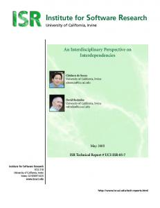 An Interdisciplinary Perspective on Interdependencies - UCI-ISR