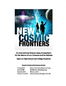 An International Science Essay Competition On the Nature of our ...