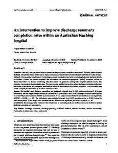 An intervention to improve discharge summary